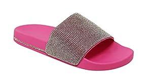 Wild Diva Women's Slides Rhinestone Glitter Sandals, Neon Pink, 10 B(M)