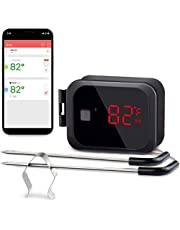 Inkbird Bluetooth Digital Meat Thermometer Candy Thermometer Cooking Smoker Food Grill Thermometer for BBQ with Smart Cooking Timer Mode and Double Probe Wireless Grill Thermometer