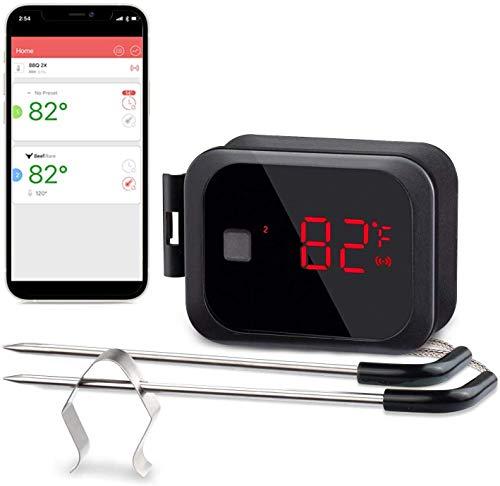 Inkbird IBT-2X Thermomètre Cuisine Bluetooth avec 2 Sonde Temperature,Thermometre Four avec Fonction de Minuterie et d'alarme,BBQ Thermometre de Cuisson pour Viande,Patisserie,Grille,Fumoir,Poulet