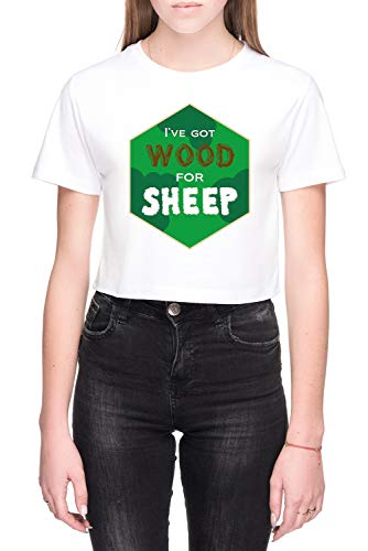 Wood For Sheep Dames Crop T-Shirt Wit Women's Crop T-Shirt White