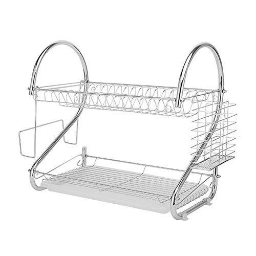 Vixzero Dish Drying Rack, 2 Tier Dish Rack with Utensil Holder, Cutting Board Holder and Dish Drainer for Kitchen Counter Top,Plated Chrome Dish Dryer Silver 17X 10X 15 Inch