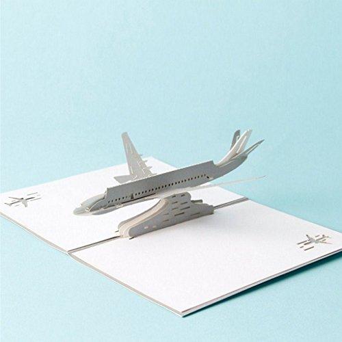 Greeting cards,StyLeShop 3D Pop Up Airplane Greeting Cards Christmas Birthday Valentine Invitation