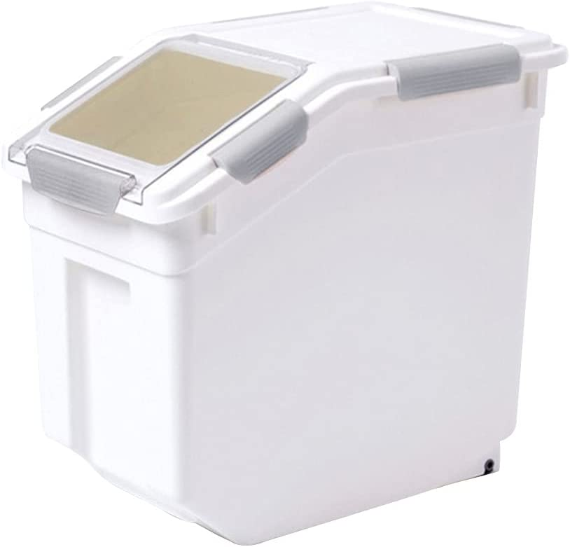 Airtight Pet Food Storage Container with Wheel and Lid Plastic Pet Food Bin 33lb for Home Kitchen Dog Cat Bird Fish Food Rice Grain Cereal Storage