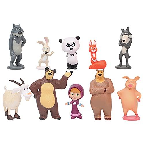 KKTICK Decorazioni per torte, 10 pezzi di Masa e Orso Mini statuine per torte di compleanno per bambini, decorazioni per bambine e ragazzi