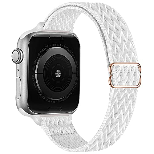 GBPOOT Slim Stretchy Solo Loop Compatible with Apple Watch Bands 38mm 40mm 42mm 44mm,Adjustable Nylon Braided Sport Strap Wave Elastic Wristband for iWatch Series SE/6/5/4/3/2/1