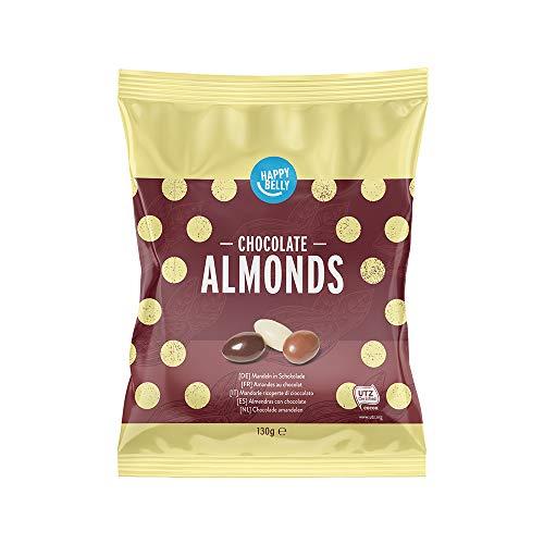 Marca Amazon - Happy Belly Almendras con chocolate 130g x 6