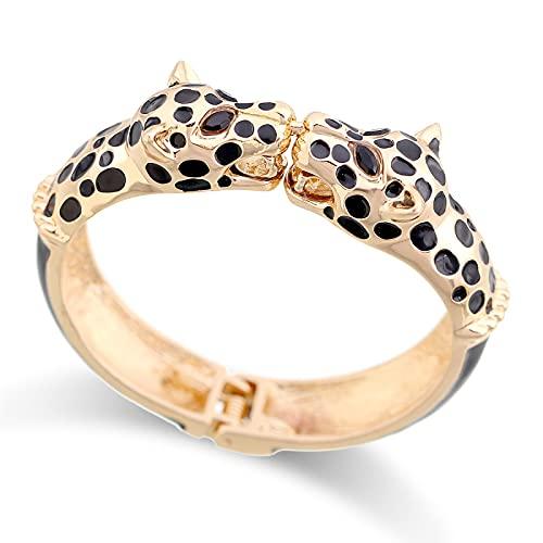 CLEARNICE Declaración Animal Esmalte Brazalete Pulseras Brazalete Chapado En Oro Colorido Doble Leopardo Pulsera para Mujer Brazaletes Diámetro 2,63 Pulgadas