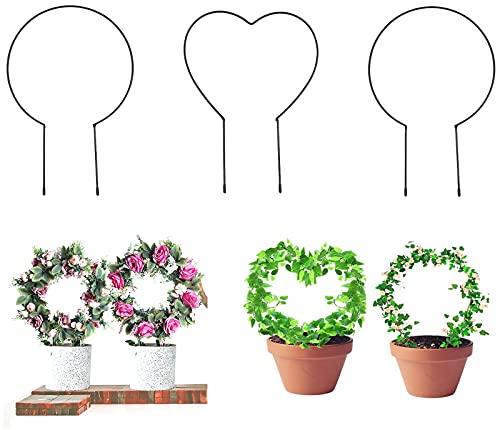 Dzmuero Dzmuero Rankgitter Metal, Staudenhalter Rund Rankhilfe Rosen, Für Kleine Pflanzen, Zimmerpflanzen Mehr,23*38cm(Herz) /23*34cm(rund) (3 Stücke)