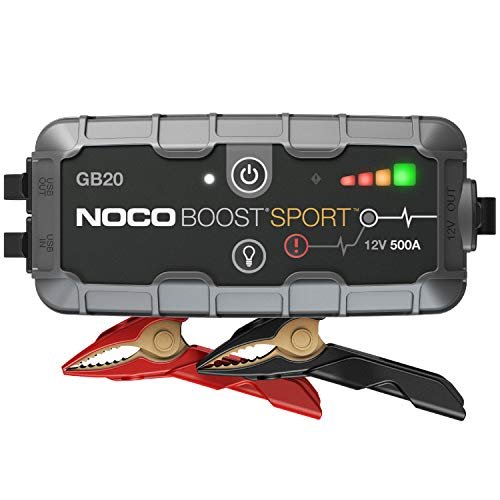 NOCO Boost Sport GB20 500 Amp 12-Volt UltraSafe Lithium Jump Starter Box, Car Battery Booster Pack, Portable Power Bank Charger, And Jumper Cables For 4-Liter Gasoline Engines