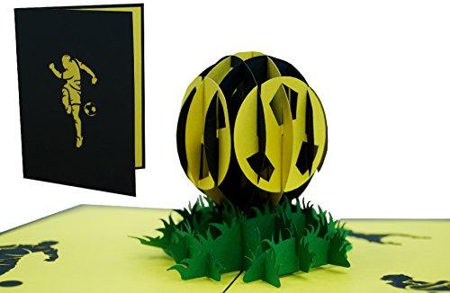 LIN 17230, Pop Up Karte Fußball, POP UP Karten Geburtstag, Pop Up Geburtstagskarte, Stadion Schwarz Gelb, FC Aachen Auerbach Dortmund Bayreuth Bern Verona, 3D Fußball Karte, N304