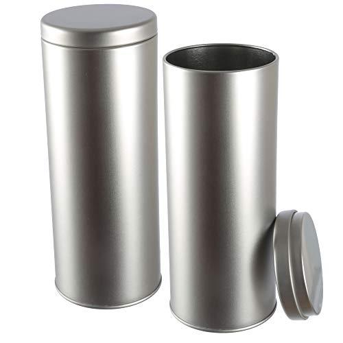 Dosenritter - 2 x runde Kaffeepaddose/Vorratsdose, luftdicht aus Metall für 130g | 19.3 x 7.5 cm (H,ø) | auch ideal als Gewürz-, Zucker- oder Schmuckdose