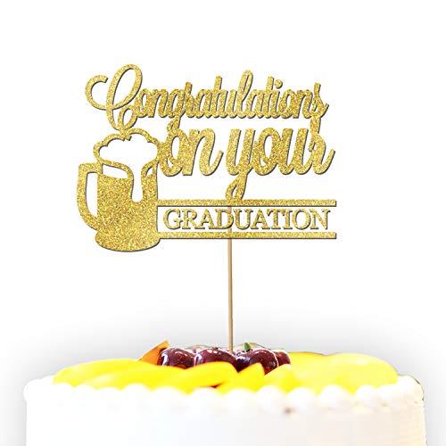 Gepersonaliseerde Gefeliciteerd met uw Graduation Bier Glitter Cake Topper Cake Decoratie - Elke kleur/Wording/Leeftijd/Gelegenheid