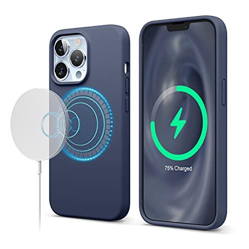 """elago Funda Magnética de Silicona Compatible con iPhone 13 Pro (6.1""""), Compatible con MagSafe, Imanes Incorporados, Silicona Premium, Prueba de Golpes, Compatible con MagSafe Accesorios (Azul Oscuro)"""