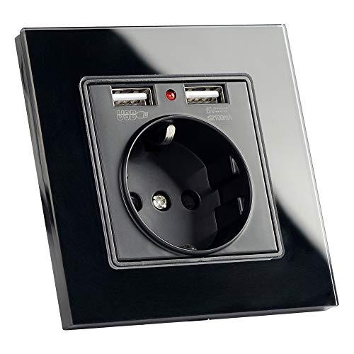 SILENTLY El Enchufe de alimentación de la Pared de la UE Socket con Salida USB, Enchufe de Pared Enchufe del Cargador USB de Cristal 2A Dual, 16A 2100mA de Pared eléctrico del zócalo de energía,Negro