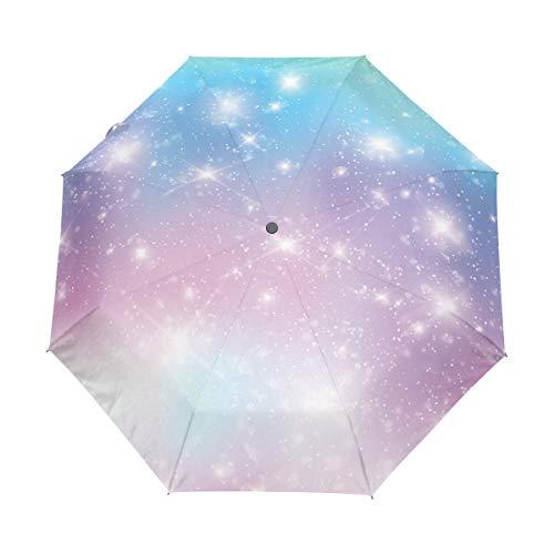 Guarda-chuva de viagem automático à prova de vento dobrável Galaxy Fantasy Sky