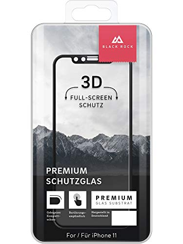 Black Rock 'Schott 9H' 3D Protective Glass for iPhone 11, 3D SCHOTT Protection Class 9, Type of Tempered Glass 9H) Transparent / Black