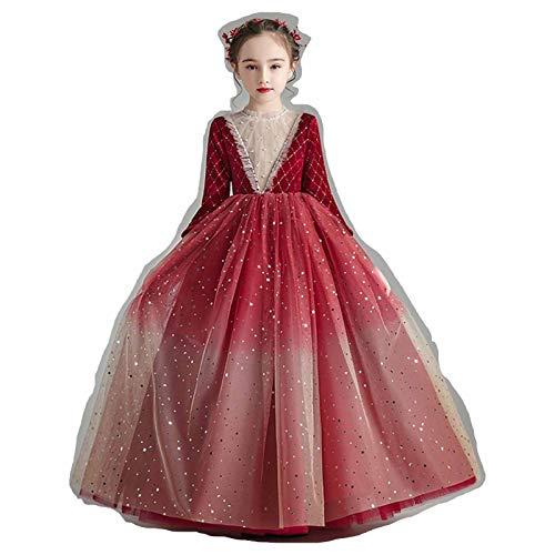 XMSIA Vestido de Fiesta de Fiesta de Las Niñas Vestido Infantil Vestido de Princesa otoño e Invierno New Girls Piano Ropa Catwalk Anfitrión Vestido de Noche Vestido de Princesa Dama de Honor