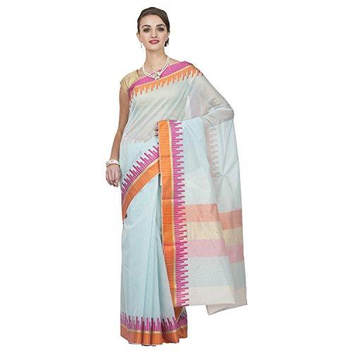 Coolethnic Banrasi Cotton Jacquard Multi-Blue- Plain Saree Sari With Blouse Piece