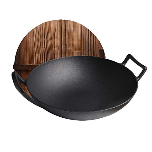 ZLJ Sartén para Wok con Tapa Antiadherente sartén para Gas Utensilios de Cocina Profesionales para los Regalos de su hogar (Color: Negro tamaño: Fondo Redondo)