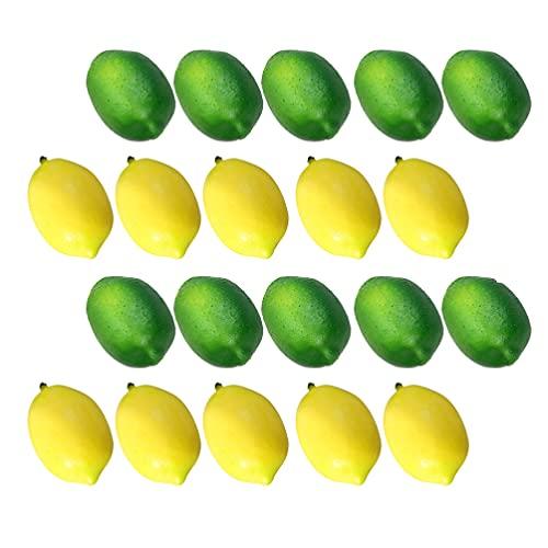 VALICLUD 20 peças de limões artificiais, vívidos, limão, falso, amarelo, verde, limão, frutas, casa, cozinha, mesa, gabinete, decoração de festa, adereços para fotografia