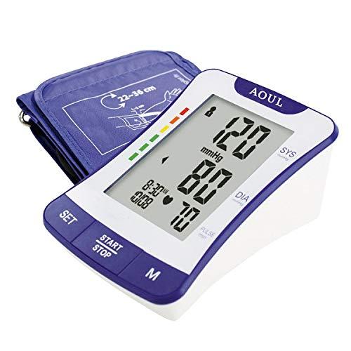 Automatisches Oberarm - Blutdruckmessgerät, vollautomatische Blutdruck- und Pulsmessung, Warnfunktion bei möglichen Herzrhythmusstörungen, große LCD-Anzeige, CE/FDA/ISO zertifiziert (Schwarz)