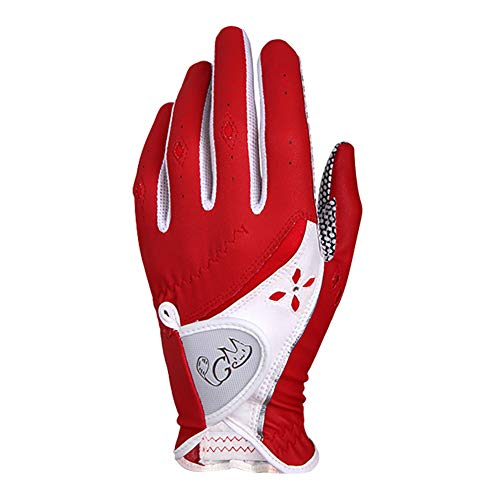 Asudaro Golf Handschuhe 1 Paar PU rutschfeste Partikel Damen Sommer Golfhandschuhe für Rechtshänder Linkshänder Feste Verstellbare Atmungsaktive Handschuhe Outdoor-Sportarten Rot