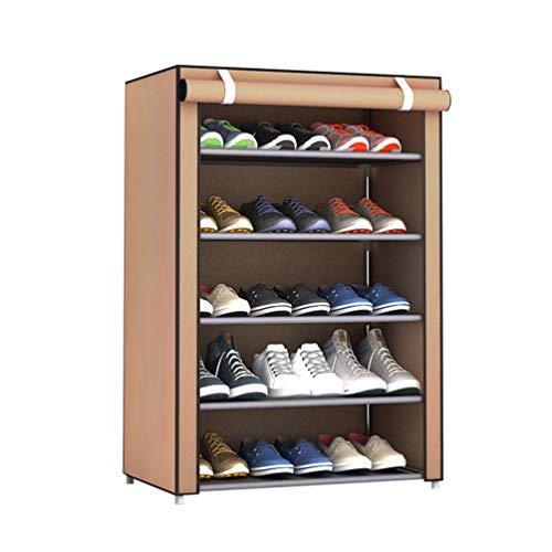 Estante de Zapatos de Tela no Tejida de Gran tamaño a Prueba de Polvo, Organizador de Zapatos, Dormitorio, Dormitorio, Zapatero, Estante, gabinete (café, 6 Capas, 5 celosía)