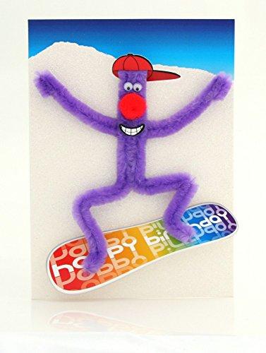 Pop Up Geburtstag ZZ Design Grußkarte PopShot Fan auf Snowboard 13x18cm