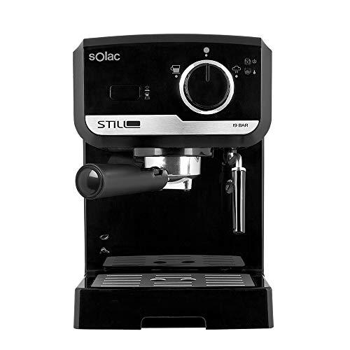 Solac CE4493 - Cafetera Espresso 19 Bar, bomba de presión 19 bares, con portafiltros, vaporizador inox y apagado automático, color negro