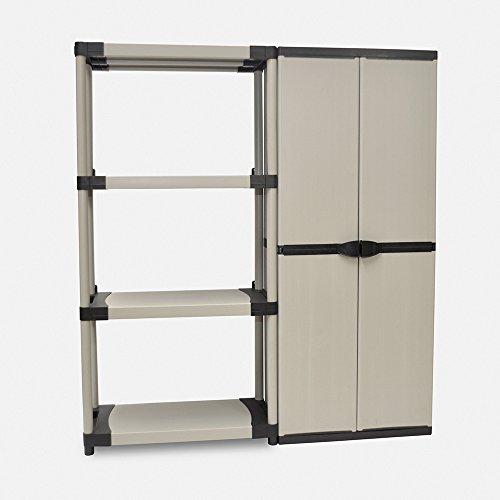 Kreher XL Schrank und Regal Set: 1 Schwerlastregal 4 Böden, ca. 80x40x168 cm, belastbar bis 80 kg pro Boden + Kunststoff Schrank ca. 69 x 40 x 168 cm, mit 3 Böden. Einfache Montage, Kunststoff Grau.