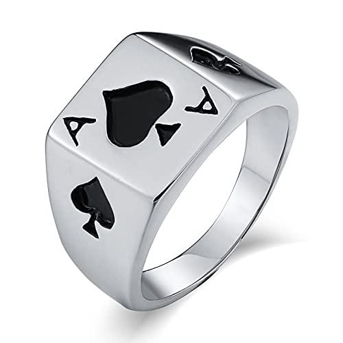Socoz Anillo para hombre de acero inoxidable, rectangular, diseño de Poker espadas de plata, anillos de boda,