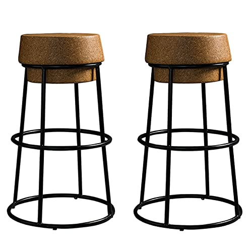 Sgabelli da bar da 26 pollici Sgabello con tappo in sughero Sgabelli artistici in ferro color champagne Tavolo stabile Sedia da bar Poggiapiedi alto rotondo Cucina del caffè, Mobili per sala da pran