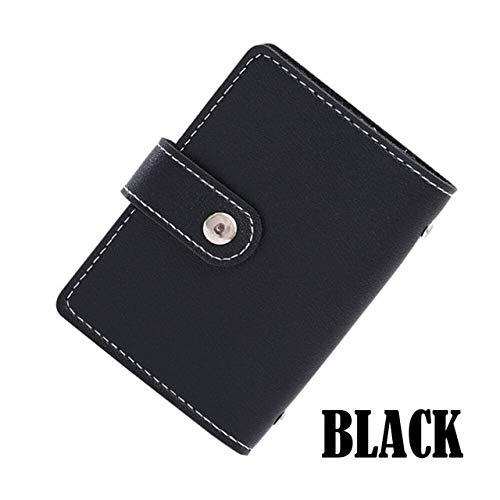 Women's 26 Cards Slim PU Leather Credit Card Holder Pocket Case Purse Wallet-Black