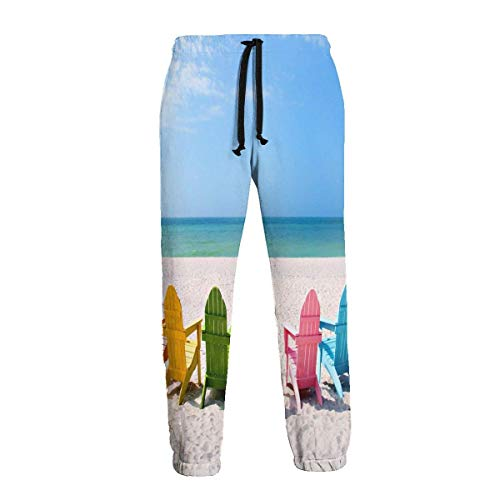 DAWN&ROSE Adirondack - Pantalones deportivos para hombre con sillas de playa en un sol