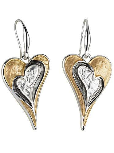 Perlkönig   Damen Frauen   Ohrringe Set   Ear Cuffs   Silber Gold Schwarz Farben   Herz geschwungen  Tricolor   Stecker   Nickelabgabefrei