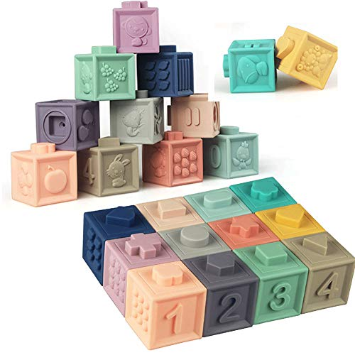 Soft Stacking Blocks for Baby Montessori Sensory Infant Bath Toys for Toddlee Toddlers Babies 6 9 Month 1 2 Year Old