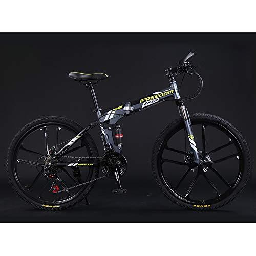 FZ-Kostum Folding Mountain Bike for Adult 24-Inch Wheel 10 Spoke 21 Speed, High Carbon Steel Double Disc Brake Full Suspension Anti-Slip MTB,E