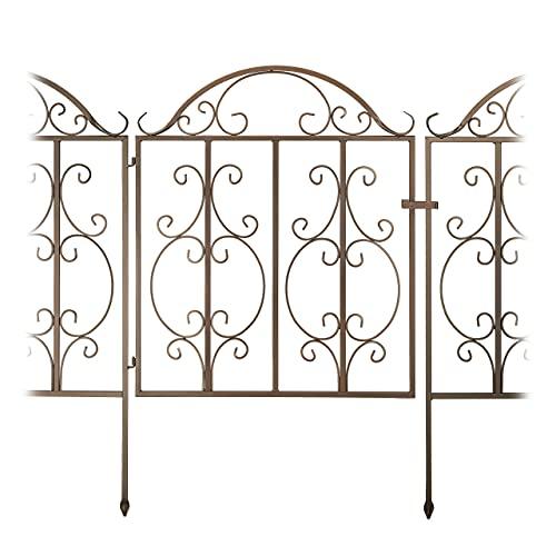 Relaxdays Portillon de Jardin, 3 pièces, Acier, Porte avec Ornements, 2 éléments de clôture, HxL : 98,5 x 185 cm, Bronze