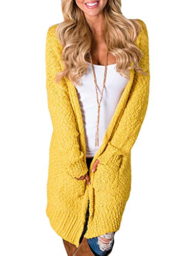 Dokotoo Womens Soft Chunky Fashion Ladies Winter Oversized Long Sleeve Open Front Fleece Sweater Popcorn Cardigans Outerwear Coat with Pockets Yellow Small