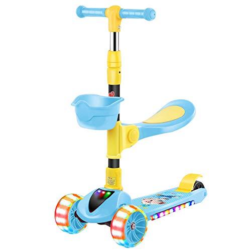QqHAO Leichte 3-Rad Kippen und drehen Roller mit LED-Leucht Rad Skateboard, geeignet für Jungen und Mädchen 3-5 Jahre alt,Blau