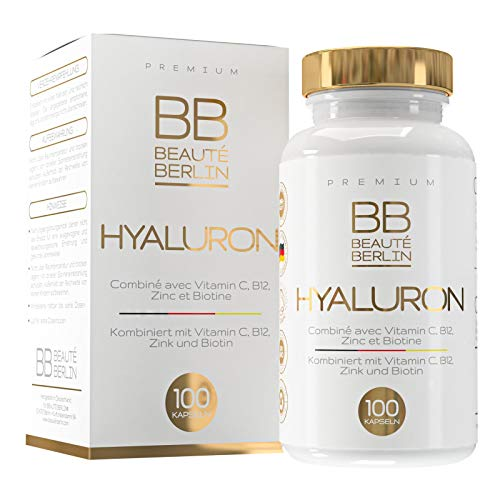 Hyaluronsäure Kapseln - Hochdosiert - 500-700 kDa - 100 Kapseln - Laborgeprüft und vegan - mit Vitamin C und Biotin - BB®