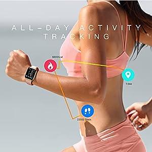 AGPTEK Smartwatch Mujer, 1.69'' Reloj Inteligente Deportivo Impermeable IP68 con SpO2 Oxígeno en Sangre Monitor de Frecuencia Cardíaca, Sueño Podómetro y Calorías, Rosa