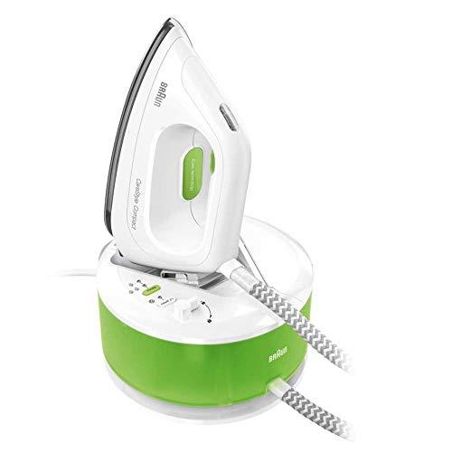 Braun CareStyle Compact IS2055GR, Ferro generatore di vapore, 2200 W, 1.3 Litri, 5 bar, sistema iCare delicato sui tessuti, Bianco/Verde