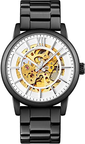 Reloj automático para hombre con diseño de esqueleto, fondo de cristal, resistente al agua, reloj de pulsera para hombre, negro, acero inoxidable, correa azul, plata, esfera blanca, elegante