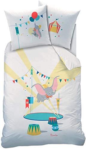 QWAS Dumbo - Juego de cama 3D de microfibra, diseño de Disney en tamaño completo, regalo de dibujos animados y anime, adecuado para niños, niñas y niños pequeños (A01,140 x 210 cm + 80 x 80 cm x 2)