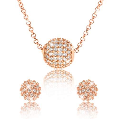 Pavel - Set di gioielli'Grace Rosé' placcato in oro rosa composto da due orecchini e una collana con zirconi bianchi di qualità AAA con scatola e certificato di autenticità.