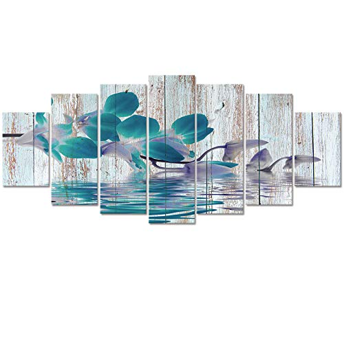 Visual Art Decor Xlarge 7 Pieces Rustic Flowers Wall Art Teal Orchid with Fancy Reflection Floral Zen Canvas Prints Gallery Wrap Decoration Contemporary Art for Home Living Room