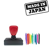 Made In Japan Rectangle Badge Style Pre-Inked Stamp, Purple Ink Included