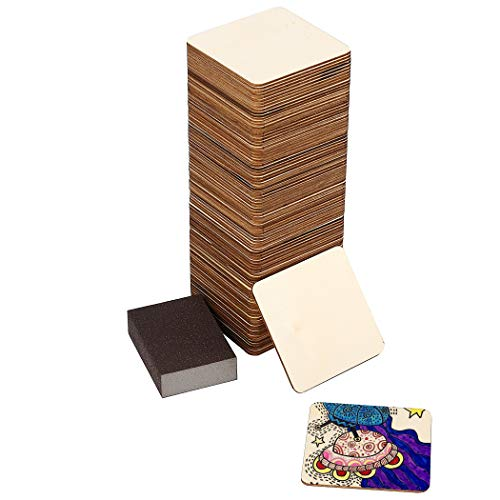100 Pc Set of Unfinished Wood Squares Measure 4x4x0.1 Inch (10x10x0.25cm) with Bonus Sander   DIY Arts and Crafts Projects, Painting, Woodburning, Signs and More   Wood Pieces are Smooth and Durable