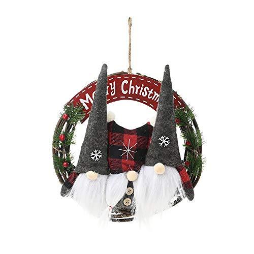 SoundZero Ghirlande Porta 30cm, Ghirlanda Natalizia con Ciondolo in Rattan, Pendenti Natalizi Porta Corona appesi a Parete per la Decorazione della Finestra di Natale, Regalo Ghirlanda Fatta a Mano